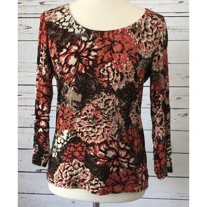 Chico's Travelers 0 XS Floral Blouse Slinky USA